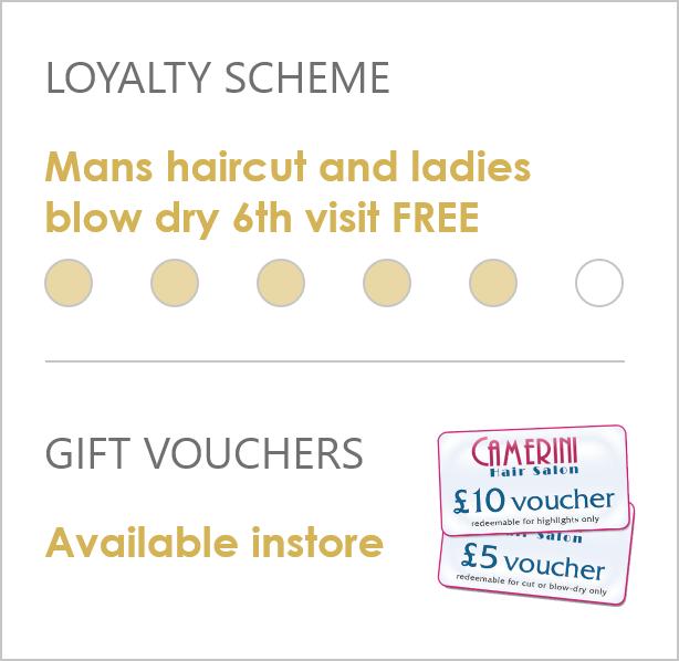 Hair salon loyalty scheme and gift vouchers