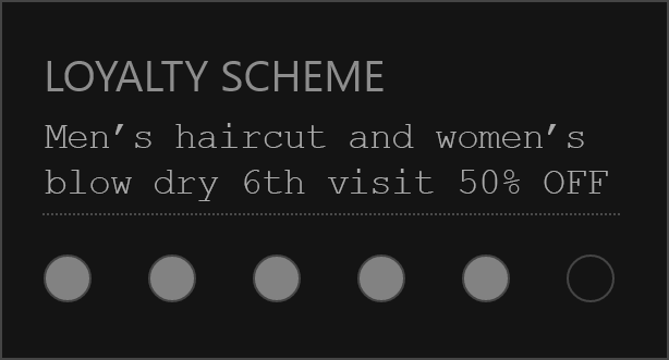 Hairdresser london loyalty scheme